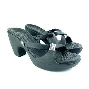 CROCS   Cyprus Black Strappy Sandal Open Toe - 9